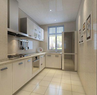厨房整体橱柜浅色调干净大方设计效果