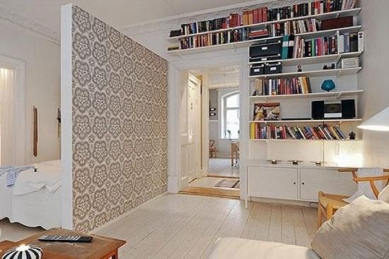 客厅,书房,卧室采用开放式设计,仅用一面隔断墙隔开,墙面选用灰色图片