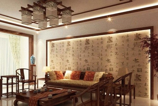 中式古典墙纸背景沙发墙装修效果图风格可以贴在彩钢上吗