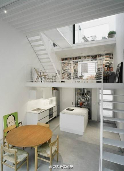 小户型客厅厨房餐厅屌丝简约装修效果图片 装修美图 新浪装修家居网
