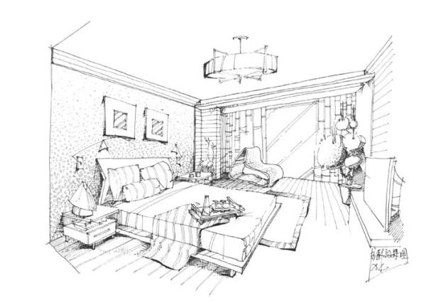 卧室手绘图图片