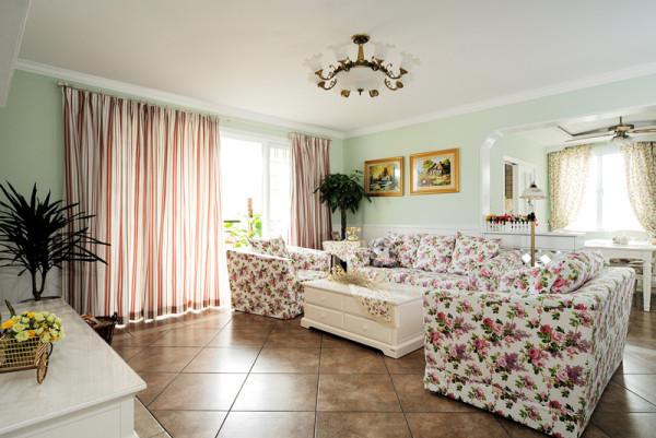 约欧式混搭二居三居别墅旧房改造80后白领客厅装修效果图片 装修美