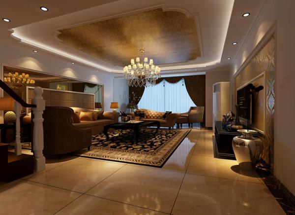 欧式别墅奢华大气三居室客厅装修效果图片 装修美图 新浪