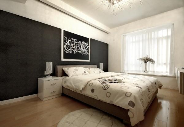 简约三居现代装修设计黑白搭配卧室装修效果图片 装修美图 新浪装修