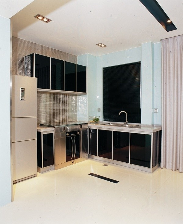 简约现代灰色调金属感小户型厨房装修效果图片 装修美图 新浪装修家
