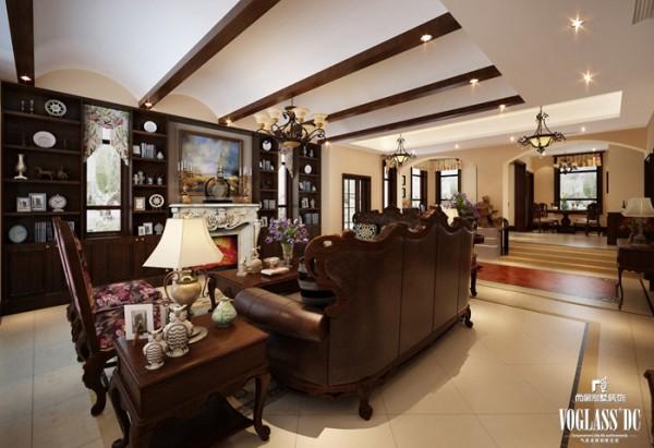 美式别墅装修尚层装饰客厅装修效果图片 装修美图 新浪装修家居网看