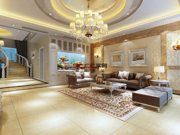 电视背景墙,装饰柜内硕大的鱼缸,天花的设计,无一不显客厅的大气.图片
