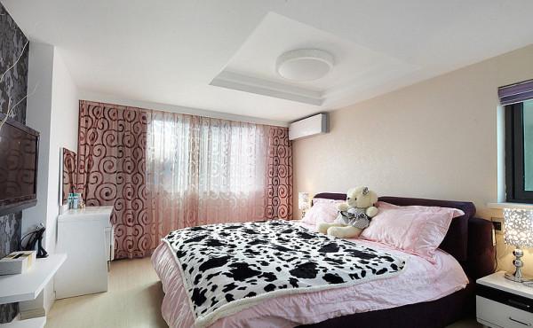 简约现代宫廷复式黑白灰卧室装修效果图片 装修美图 新浪装修家居网