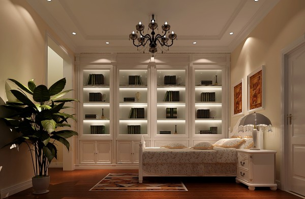 美式书柜床床头柜地板卧室装修效果图片 装修美图 新浪装修家居网看