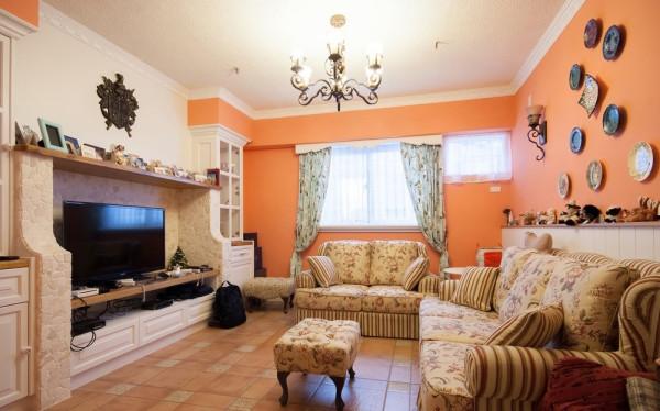 田园风望京小区90平米三居老房装修今朝装饰客厅