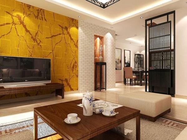 长阳九州新中式风格三居今朝装饰客厅装修效果图片 装修美