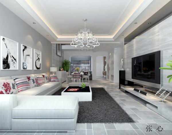 金域蓝湾复式楼后现代风格装修设计案例【客厅设计效果图】