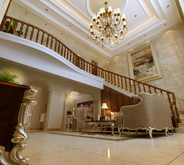 巩义恒星皇家花园 欧式别墅装修 客厅装修设计