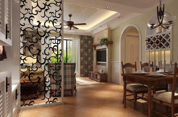 紫荆尚都100平美式田园风格 客厅效果图,客餐厅之间装饰镂空隔断,