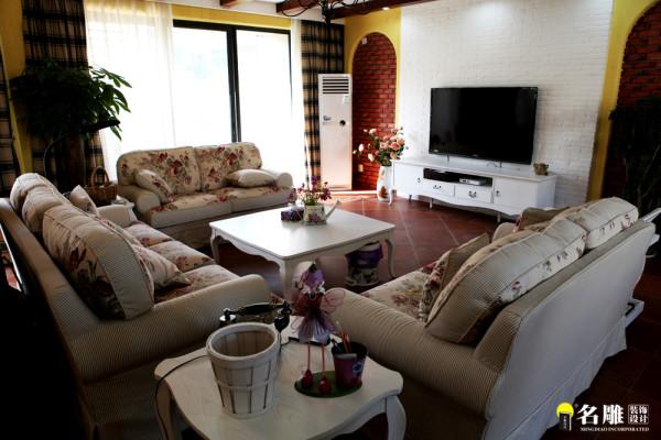 万科城美式风格复式休闲家装客厅高清图片