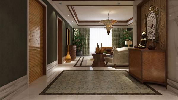 城三居室中式及泰式混搭风格高度国际装饰设计玄关装修效果图片