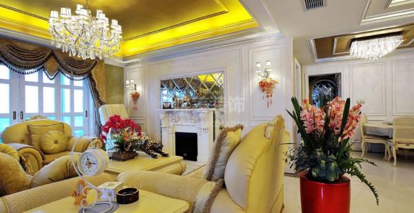 四居简欧欧式简约别墅白领80后高贵时尚客厅装修效果图片 装修美图