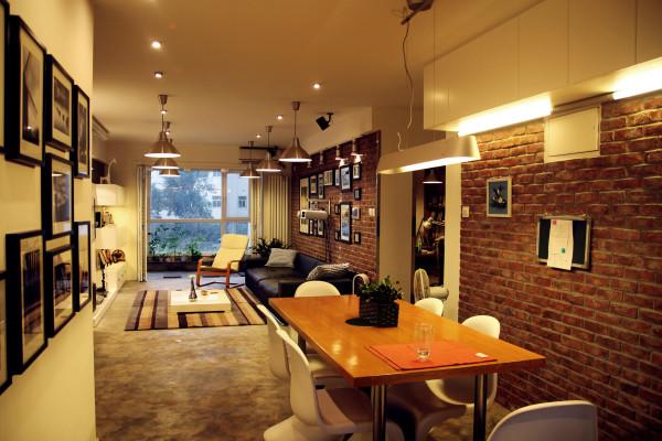 业风格水泥地面复古红砖家居设计设计工作室蝶影设计个性设计餐厅高清图片