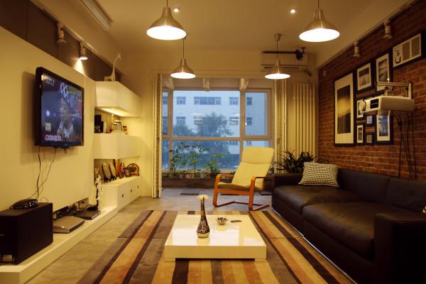 业风格水泥地面复古红砖家居设计设计工作室蝶影设计个性设计客厅高清图片