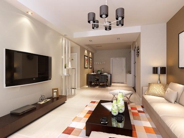 现代简约婚房设计两居室设计90后设计装修效果图客厅装修效果图片