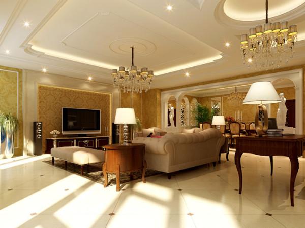 欧式奢华别墅三居高度国际装饰设计客厅装修效果图片 装修