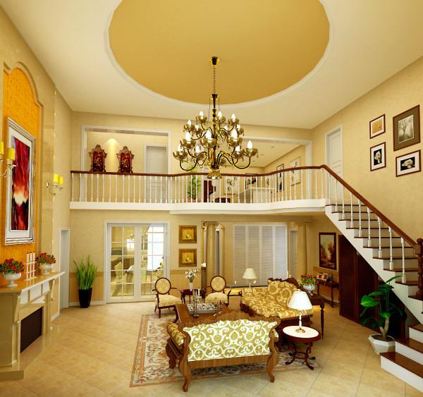 别墅三居欧式古典实创装饰客厅餐厅玄关卧室客厅装修效果图片 装修美