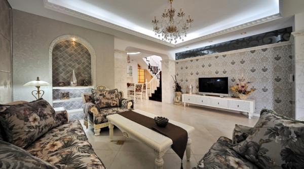 简约田园复式家居风水效果图设计生活室内装修客厅装修效高清图片