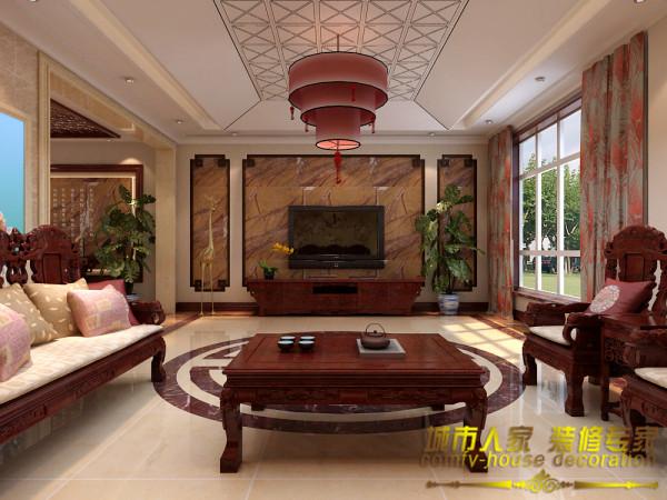 别墅新中式装修上山间客厅装修效果图片 装修美图 新浪装修家居网看
