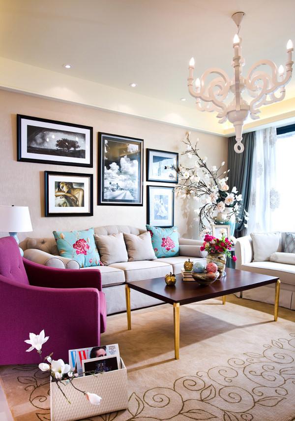 80平现代美式混搭二居手工家纺小资客厅装修效果图片 装修美图 新浪