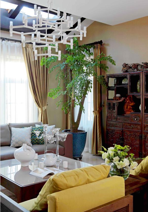 保利西山林语新中式风格独栋别墅客厅装修实景图