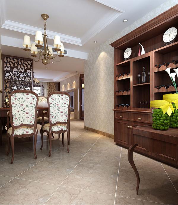 龙源世纪家园120平方三室两厅装修案例,餐厅装修效果图和酒柜装修效果