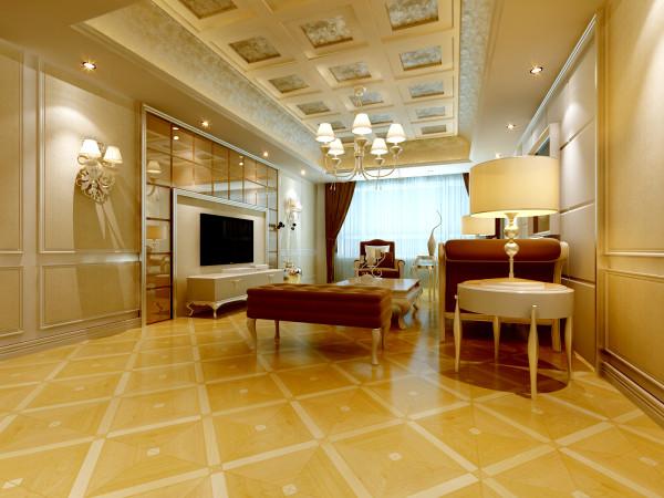 简约欧式田园混搭三居金水花城百家装饰效果图美式客厅装修效果图片