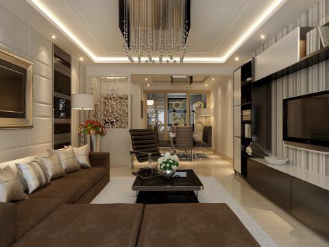 简约欧式田园混搭二居中海城塞尚现代美式效果图客厅装修效果图片