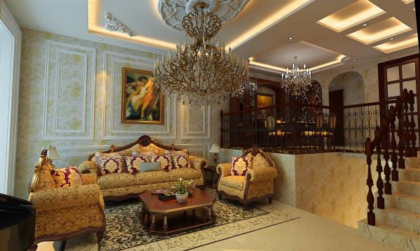 简约欧式田园混搭别墅美式现代香格蔚蓝效果图客厅装修效
