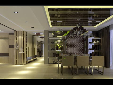 欧式田园混搭简约复式沈阳装修室内设计效果图餐厅