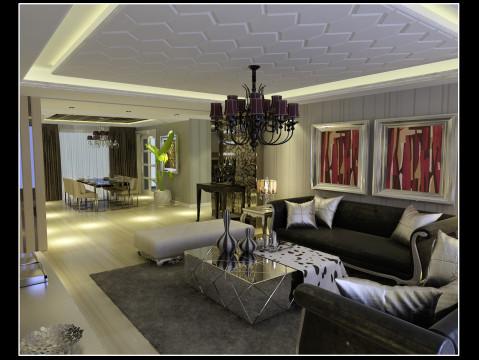 欧式田园混搭简约复式沈阳装修室内设计效果图客厅装修效