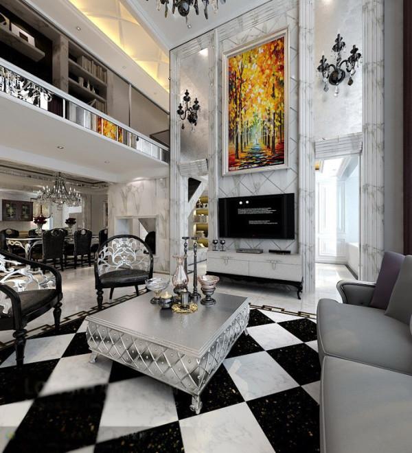 简约欧式田园混搭别墅白领收纳80后小资客厅装修效果图片 装修美图
