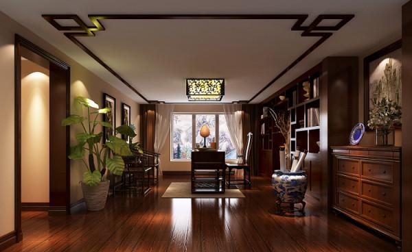 欧式田园混搭三居别墅中西结合房子装修地下一层书房装修