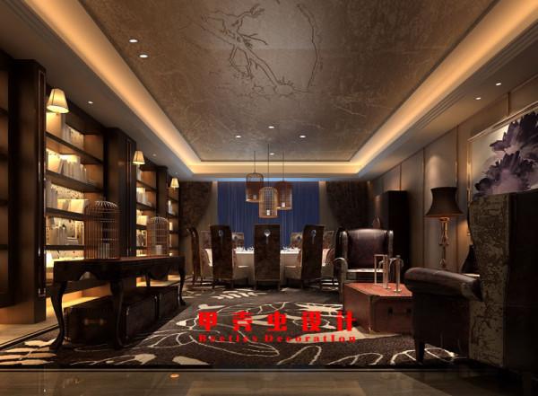 新中式风格饭店设计之12人包厢装修效果图高清图片