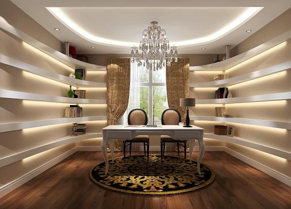 简约欧式田园混搭三居白领收纳效果图现代书房装修效果图