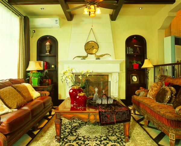 简约欧式田园混搭别墅收纳80后小资三居客厅装修效果图片