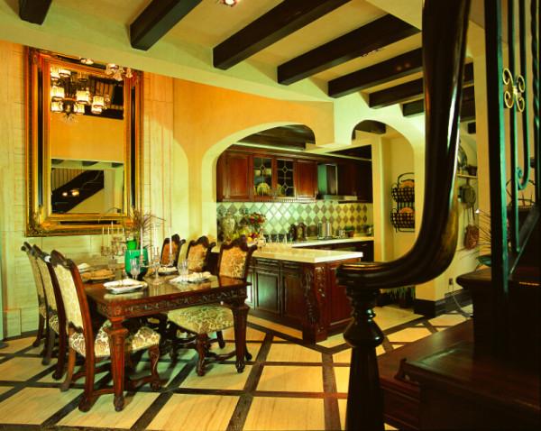 简约欧式田园混搭别墅收纳80后小资三居餐厅装修效果图片