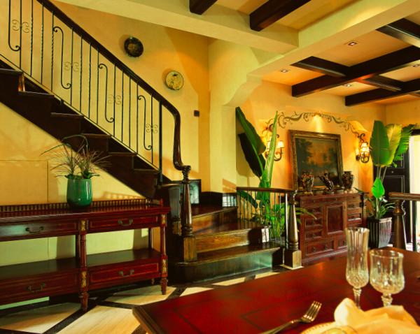 简约欧式田园混搭别墅收纳80后小资三居楼梯装修效果图片