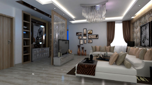 东易家庭装修室内装修高度国际尚层简约二居收纳80后客厅