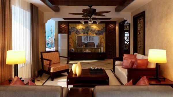 家庭装修室内装修高度国际尚层欧式混搭东南亚风格收纳白领客厅装修