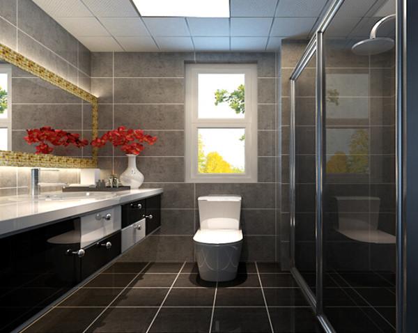 田园风格住房整体卫生间装修  将浅灰色墙砖和浅黑地砖,黑白色浴室柜