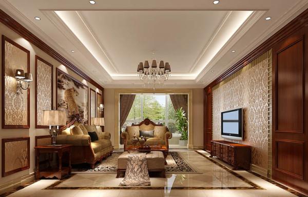旭辉御府北京装修效果图大全别墅装修欧式风格三居混搭欧式80后客厅高清图片