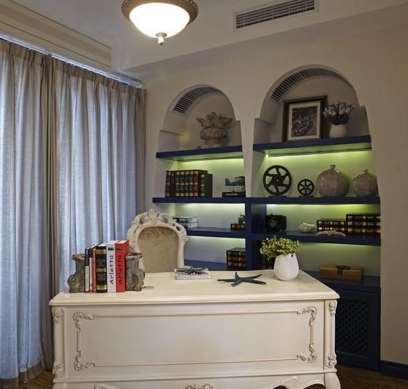 简约欧式田园混搭三居白领收纳80后小资书房装修效果图片