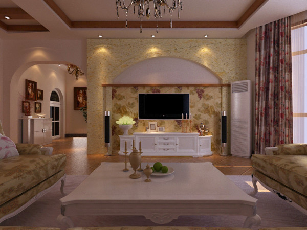 田园欧式简约客厅装修效果图片 装修美图 新浪装修家居网