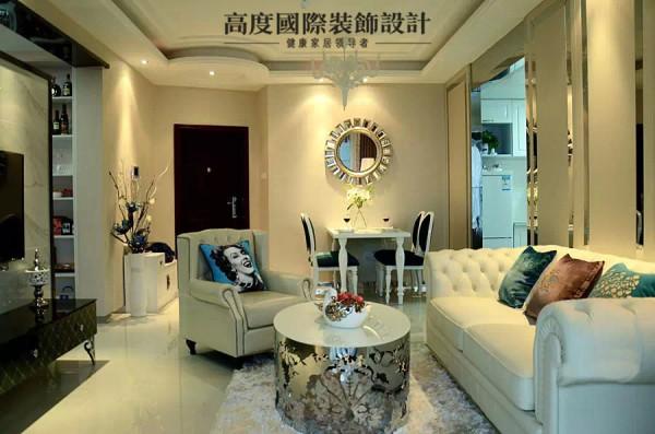 欧式简约二居装修效果图装饰设计客厅装修效果图片 装修美